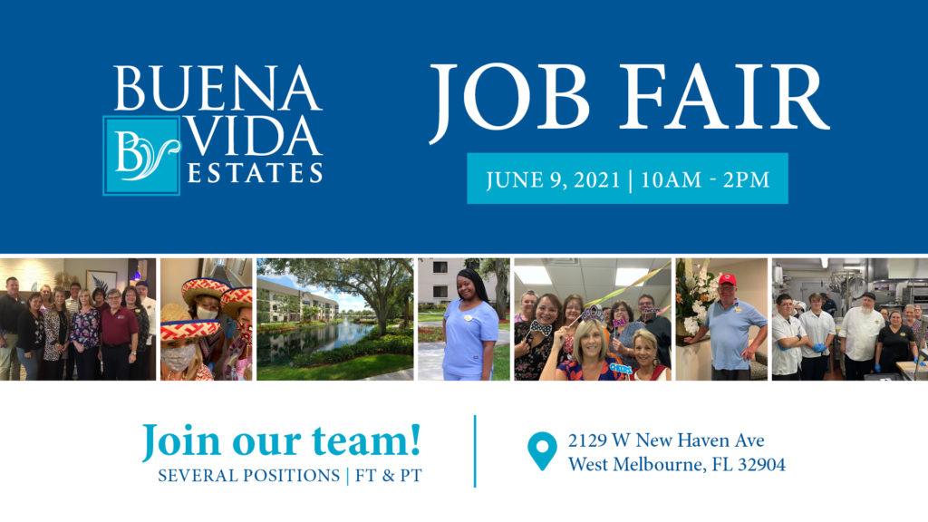 Buena Vida Estates Job Fair Banner - June 9, 2021 - 10am - 2pm